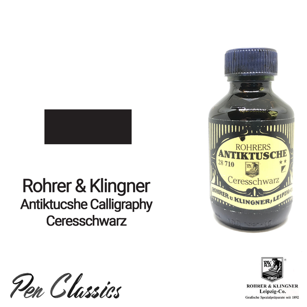 Rohrer & Klingner Antiktucshe Ceresschwarz Calligraphy 100ml Ink Bottle and Swab