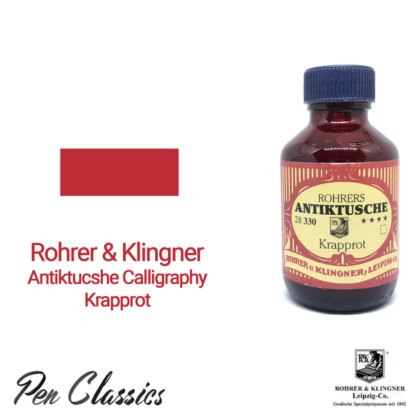 Rohrer & Klingner Antiktucshe Krapprot Calligraphy 100ml Ink Bottle and Swab