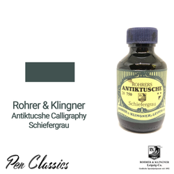 Rohrer & Klingner Antiktucshe Schiefergrau Calligraphy 100ml Ink Bottle and Swab