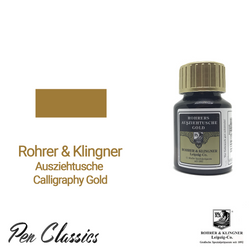 Rohrer & Klingner Calligraphy Gold 50ml Ink Bottle and Sample