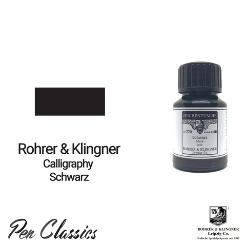 Rohrer & Klingner Calligraphy Schwarz 50ml Ink Bottle and Sample