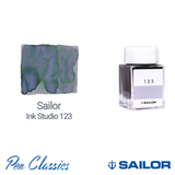 Sailor Ink Studio 123 Bottle and Tomoe River Swatch