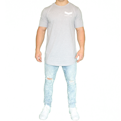 Vector Long Body Tee - Gray - White Logo