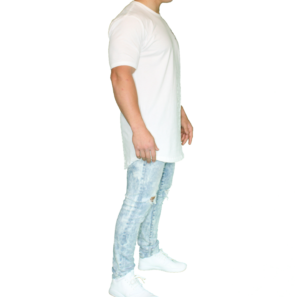 Vector Long Body Tee - White