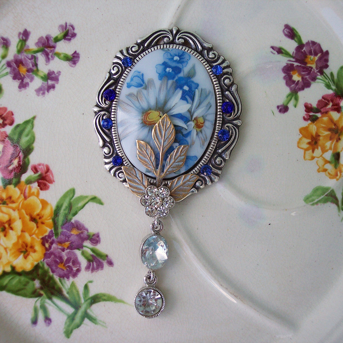 Necklace Blue Flowers Vintage Style Necklace Treasury Road