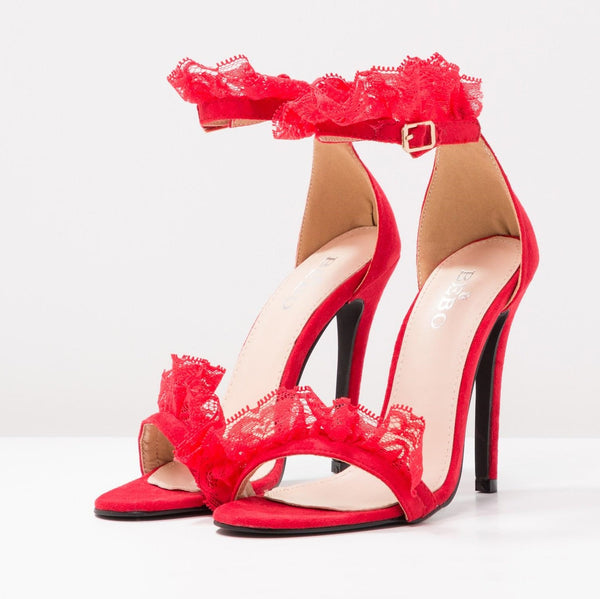 BEBO Red Lace Sandals