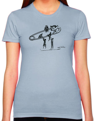 safety lift womens tshirt benefiting the ACLU (slate)