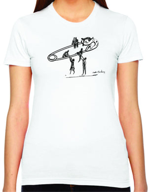safety lift womens tshirt benefiting the ACLU (white)