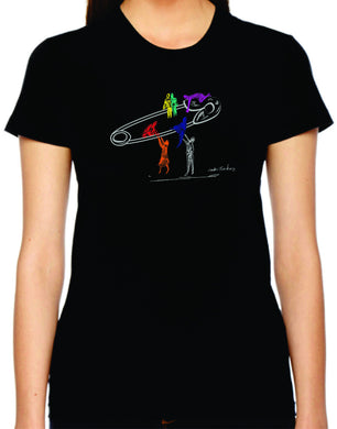 safety lift womens tshirt benefiting the Human Rights Campaign (black)