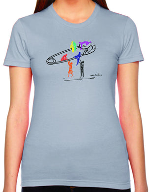 safety lift womens tshirt benefiting the Human Rights Campaign (slate)