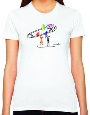 safety lift womens tshirt benefiting the Human Rights Campaign (white)