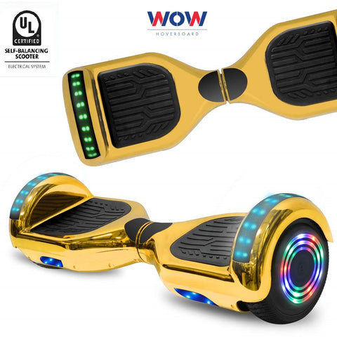 Hoverboard Chrome Gold with lights Bluetooth speaker +LED lights in Canada---6.5 Inch - Best Hoverboards in Canada
