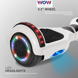 Hoverboard White color with lights Bluetooth speaker in Canada---6.5 Inch - Best Hoverboards in Canada