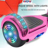 Chrome Pink Hoverboard With Bluetooth Speaker and Lights in Canada---6.5 Inch - Best Hoverboards in Canada