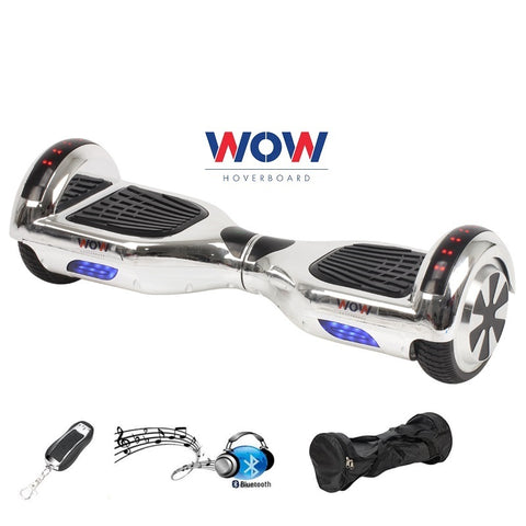 Chrome Silver Hoverboard Bluetooth Speaker, LED lights in Canada---6.5 inch - Best Hoverboards in Canada