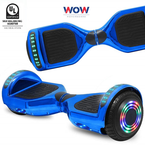Hoverboard Chrome Blue With Bluetooth Speaker and Lights  in Canada---6.5 Inch - Best Hoverboards in Canada