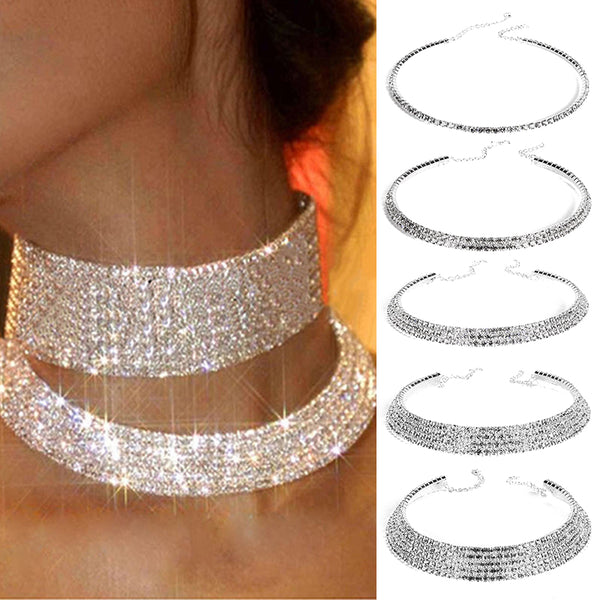 Silver Rhinestone Crystal Choker Necklace