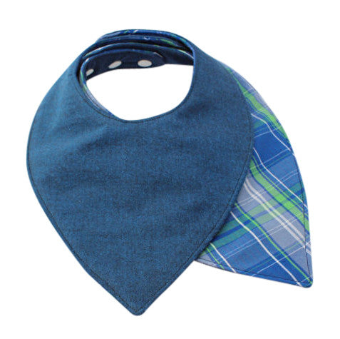 Blue Plaid Bandana Bib - Discontinued