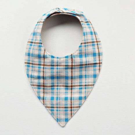 Blue and Tan Plaid Bandana Bib - Discontinued - Gertrude and the King