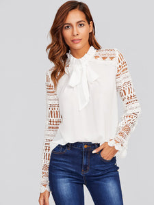 Classic white tie neck lace sleeve top
