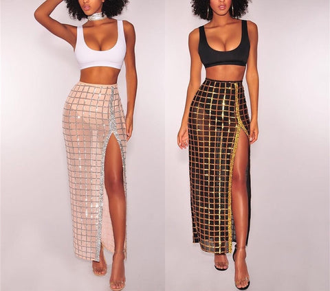 glitter cage side split maxi skirt & crop top 2 piece set