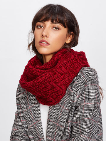 Knitted texture infinity scarf