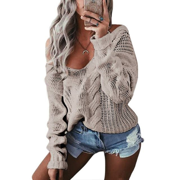 Loose fit off the shoulder fashion sweater top
