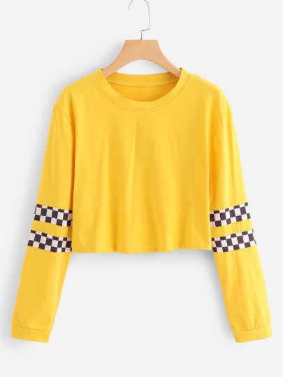 Checkered panel long sleeve top