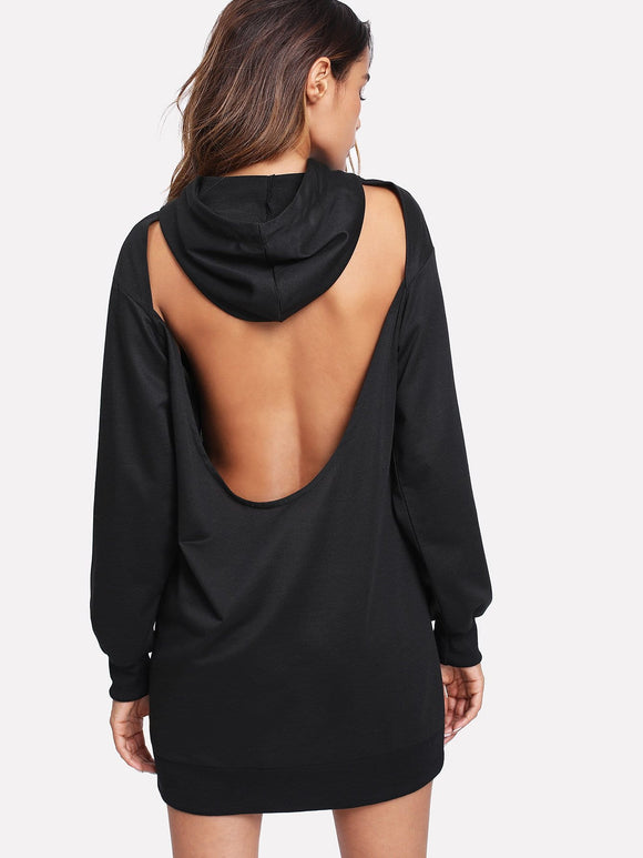 Cutout back fashion hoodie dress