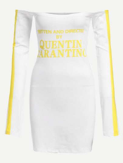Written and directed by Quentin Tarantino off the shoulder dress