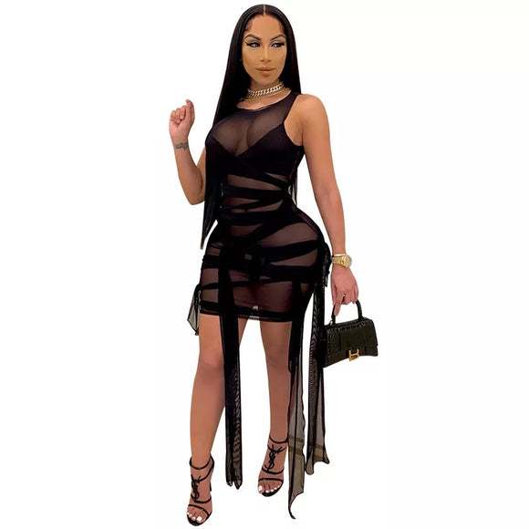 Sheer mesh wrap strappy fashion dress