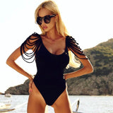 Strappy sleeve one piece monokini swimsuit