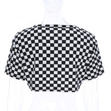 Black and white Checkered crop tshirt