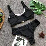 """Secure the bag"" cutout buckle 2 piece swimsuit set"