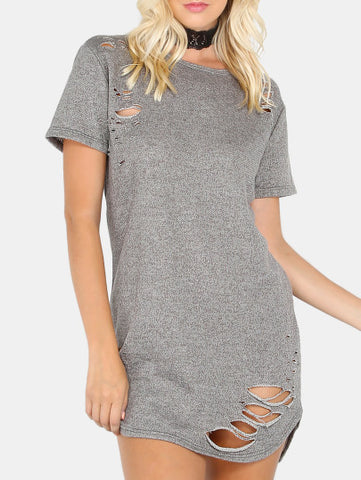 "So ""Ye"" Ripped fashion tshirt dress - Iconic Trendz Boutique"