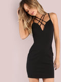 Cross strappy front bodycon dress - Iconic Trendz Boutique