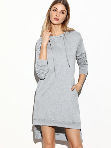 """GET RIGHT"" Grey Hooded Side Split High Low Sweatshirt Dress - Iconic Trendz Boutique"