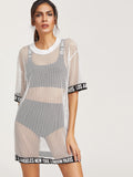"""All around the world"" sheer fishnet oversize retro tshirt dress - Iconic Trendz Boutique"
