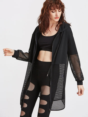 Black Netted Insert Fashion Hoodie Jacket - Iconic Trendz Boutique