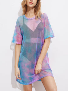 """free spirit"" sheer rainbow retro tshirt dress - Iconic Trendz Boutique"