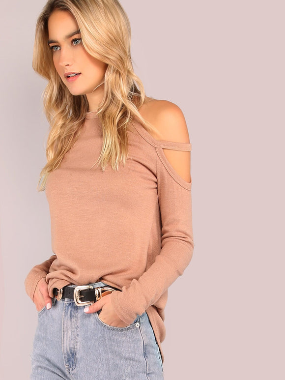 cutout shoulder detail fashion long sleeve top - Iconic Trendz Boutique