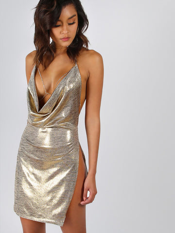 Sexy Metallic Drape front side split backless Bodycon Dress - Iconic Trendz Boutique