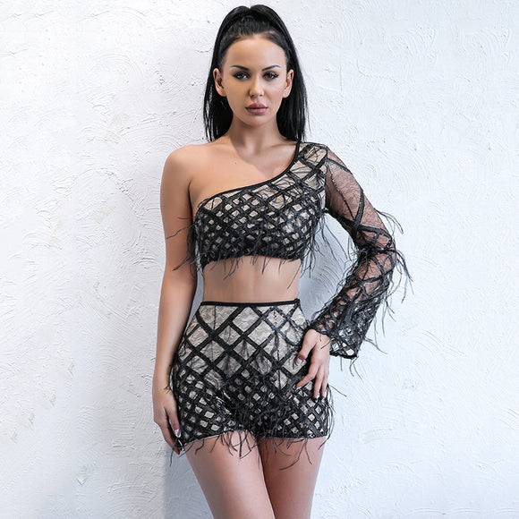 Caged fringe couture 2 piece set