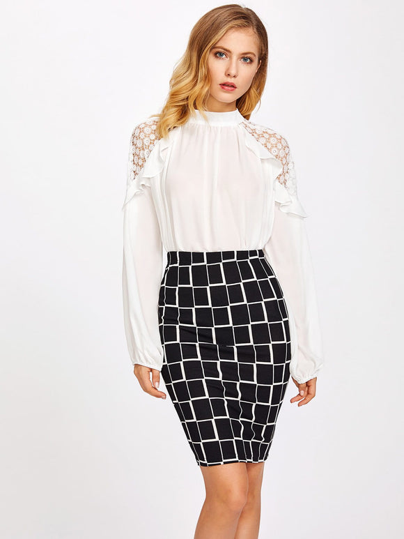 Block print pencil bodycon skirt