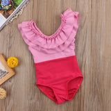 Pretty in pink ruffle matching Mommy baby kids swimsuit
