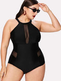 *PLUS DOLL* high neck monokini one piece plus size swimsuit