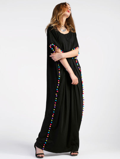 Pom Pom detail long maxi dress