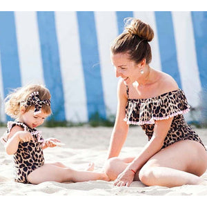 Leopard Pom Pom detail mommy and me matching mommy and daughter swimsuit