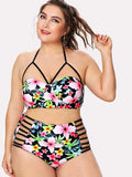 "PLUS DOLL ""Blissful"" cutout strappy floral 2 piece plus size swimsuit"