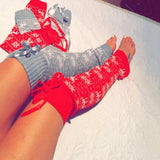 Warm knitted Over the knee Christmas Xmas bow leg warmers